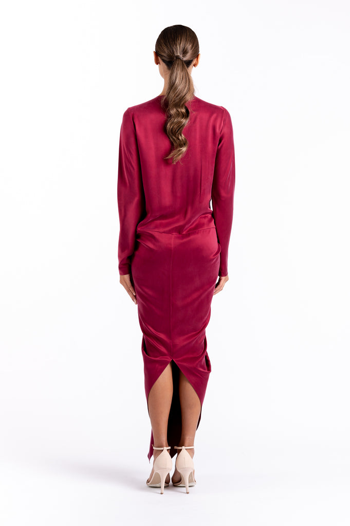 HUDSON DRESS IN SCARLET SILK