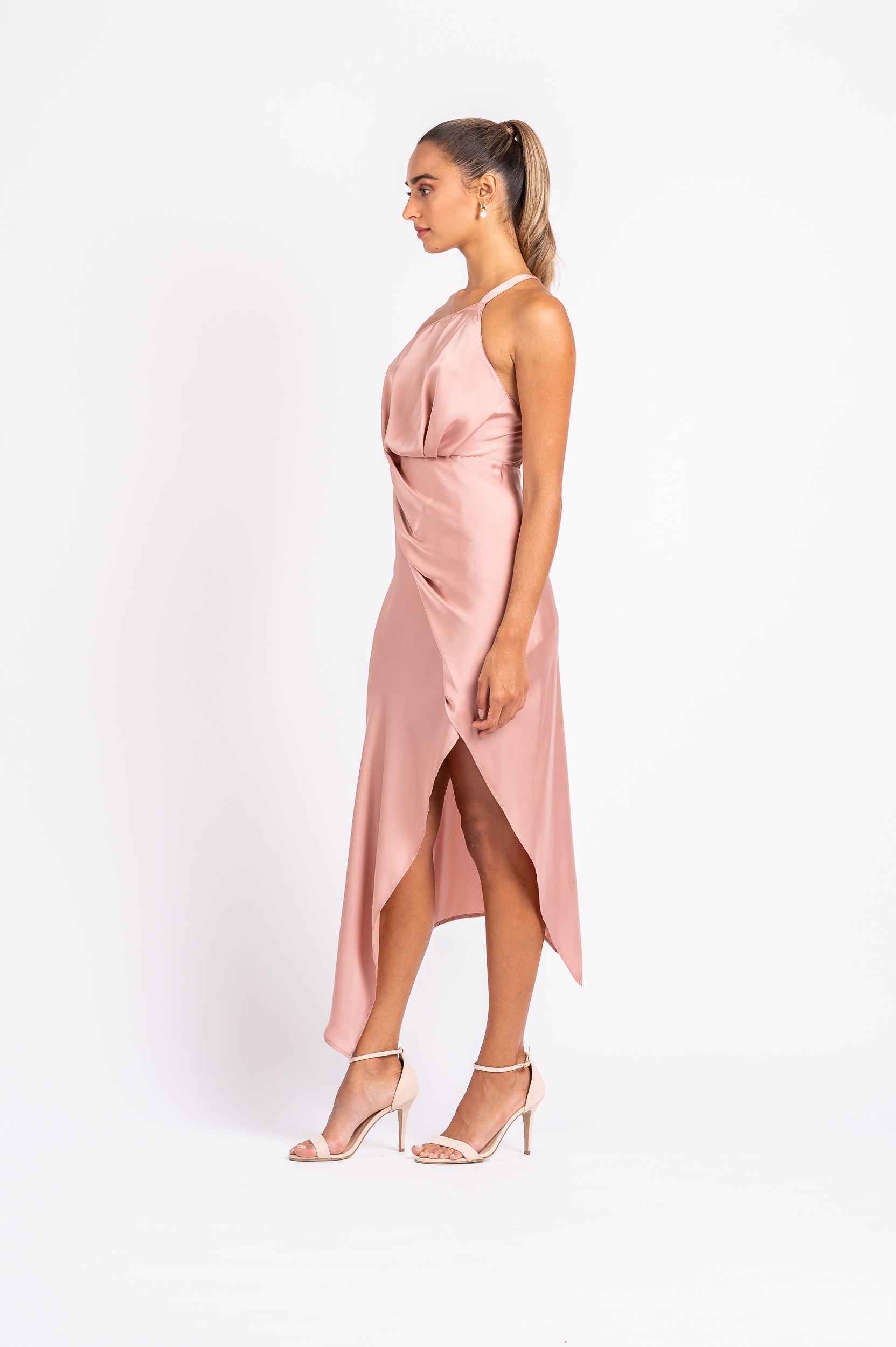 HARLEQUIN DRESS IN DUSTY ROSE