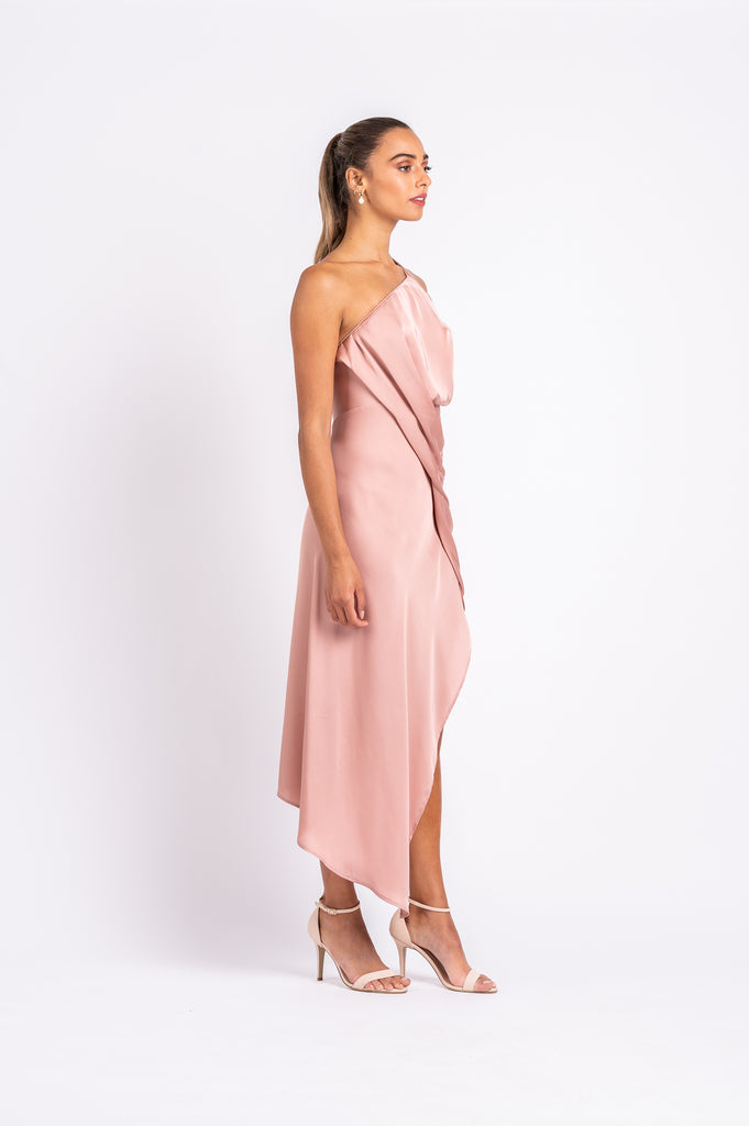 HARLEQUIN DRESS IN DUSTY ROSE PO