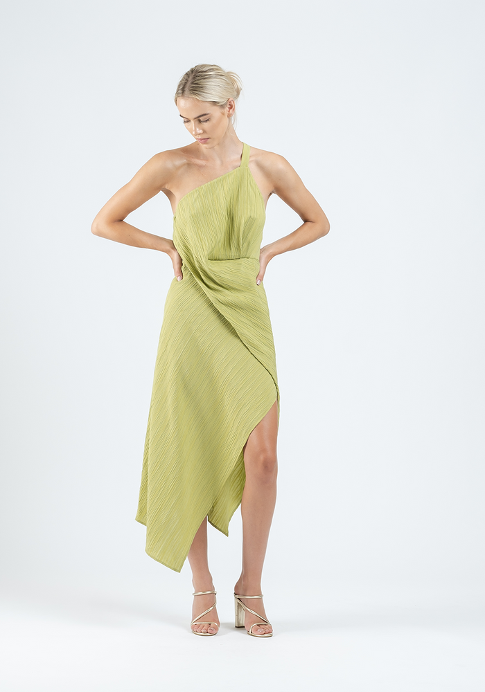 HARLEQUIN DRESS IN PISTACHIO