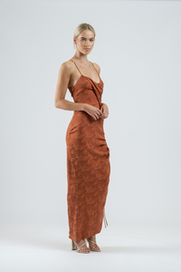 VENUS MAXI IN RUST BROCADE