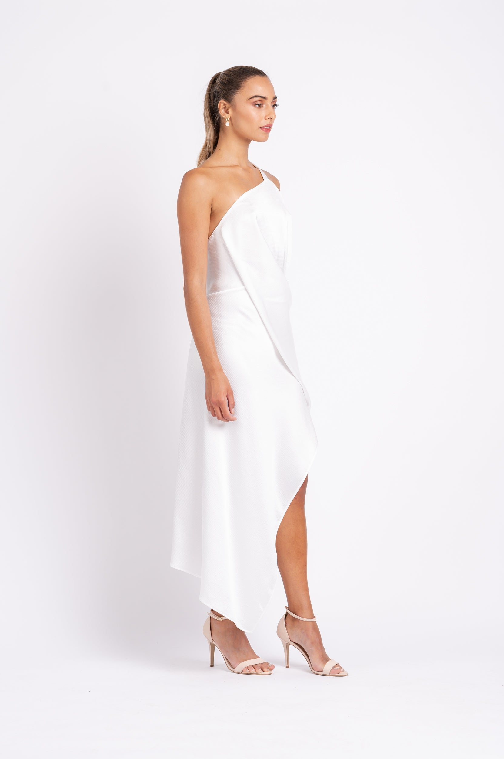 HARLEQUIN DRESS IN WHITE ON WHITE PO