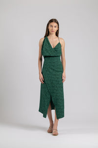 MUSE DRESS IN MOSS JACQUARD