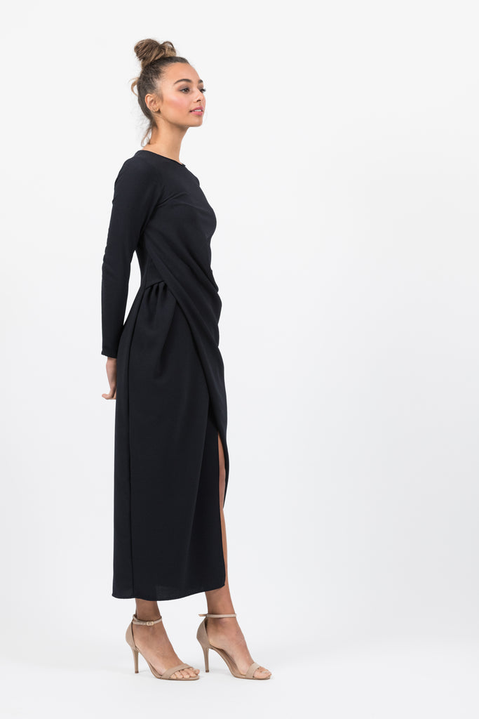 Shaw Stretch Maxi in Navy Crepe