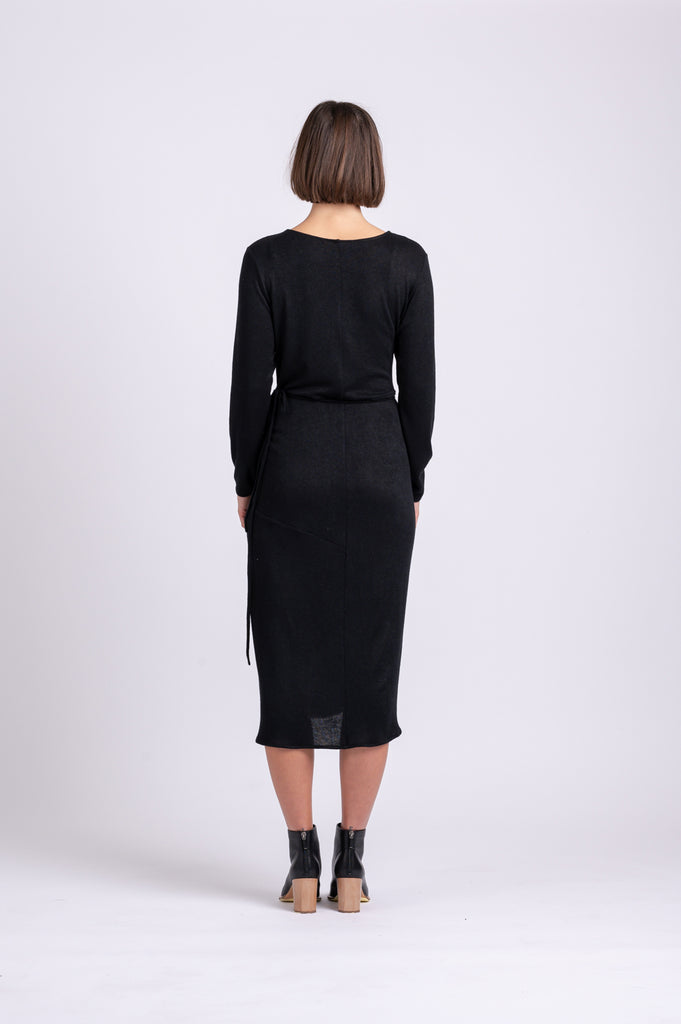 OFS Wrap Dress in Black Knit