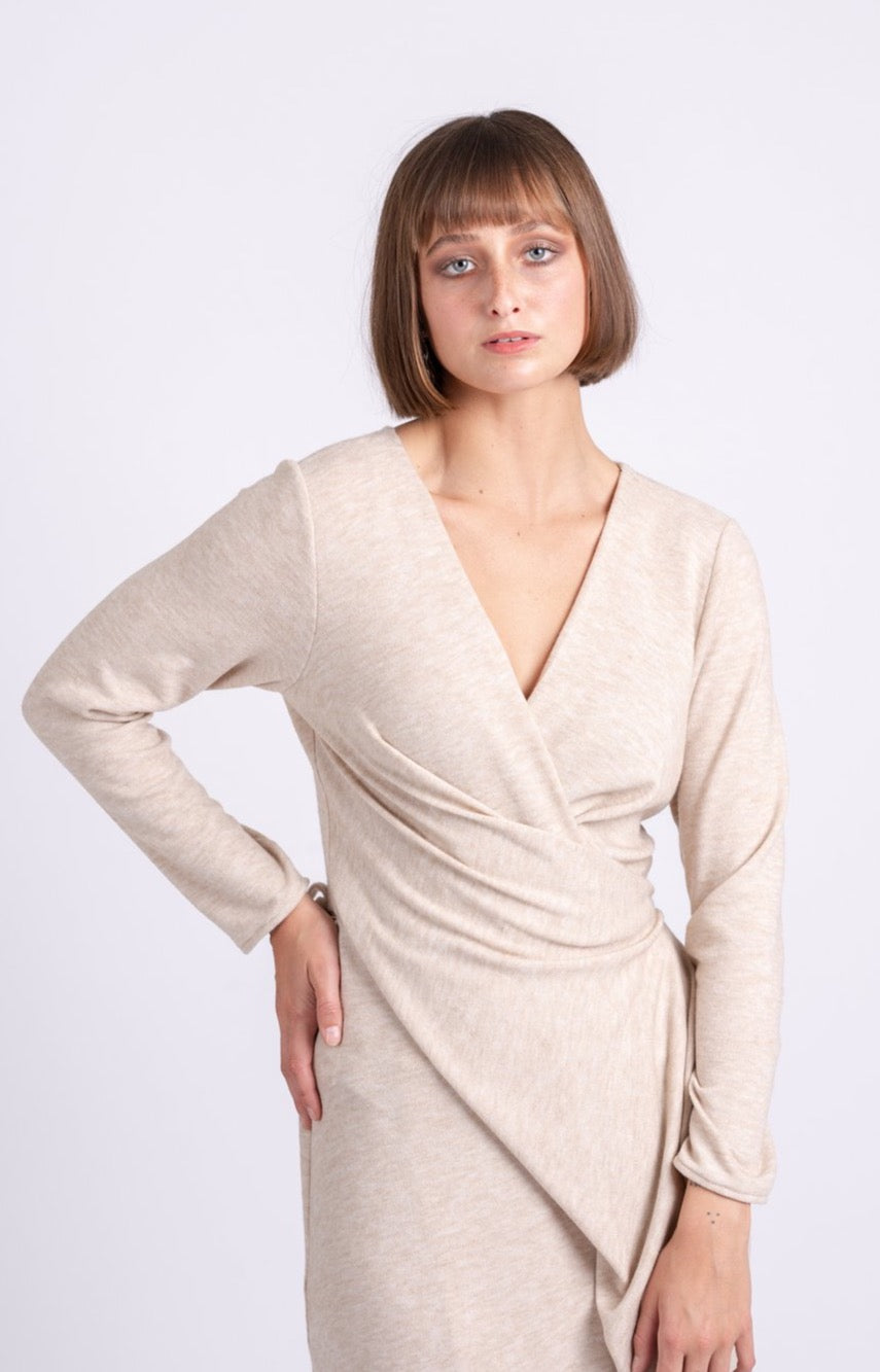 OFS Wrap Dress in Sand Knit