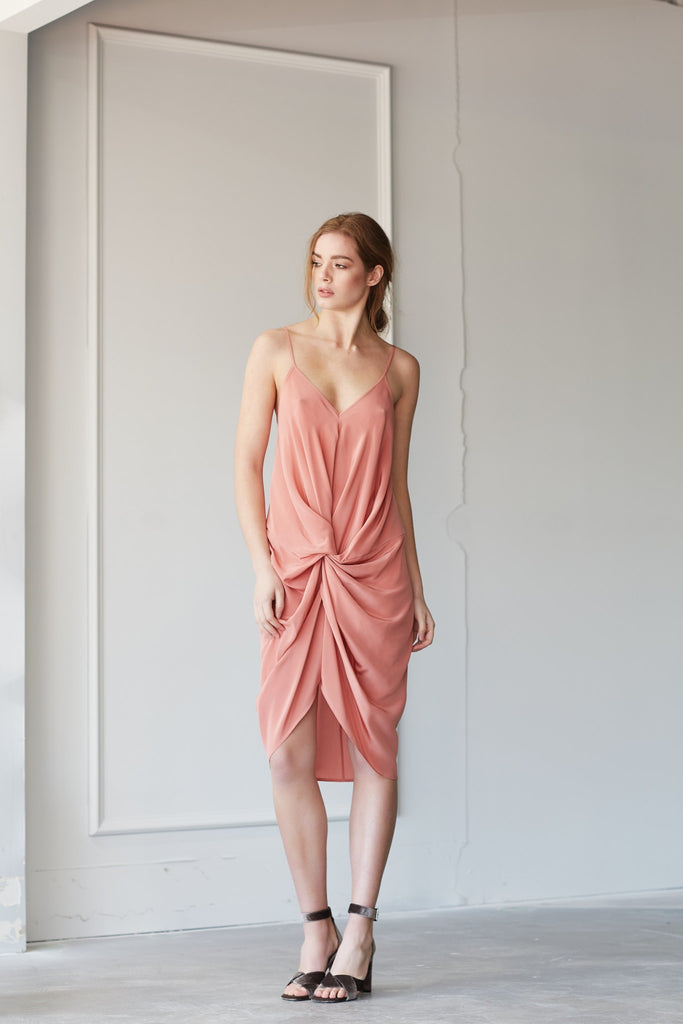 ELANA SLIP DRESS SHORT IN TURKISH ROSE