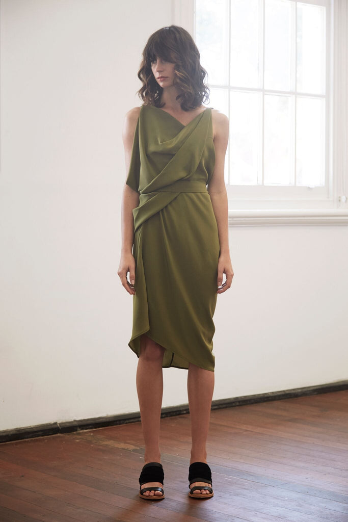 Doric Dress in Chartreuse