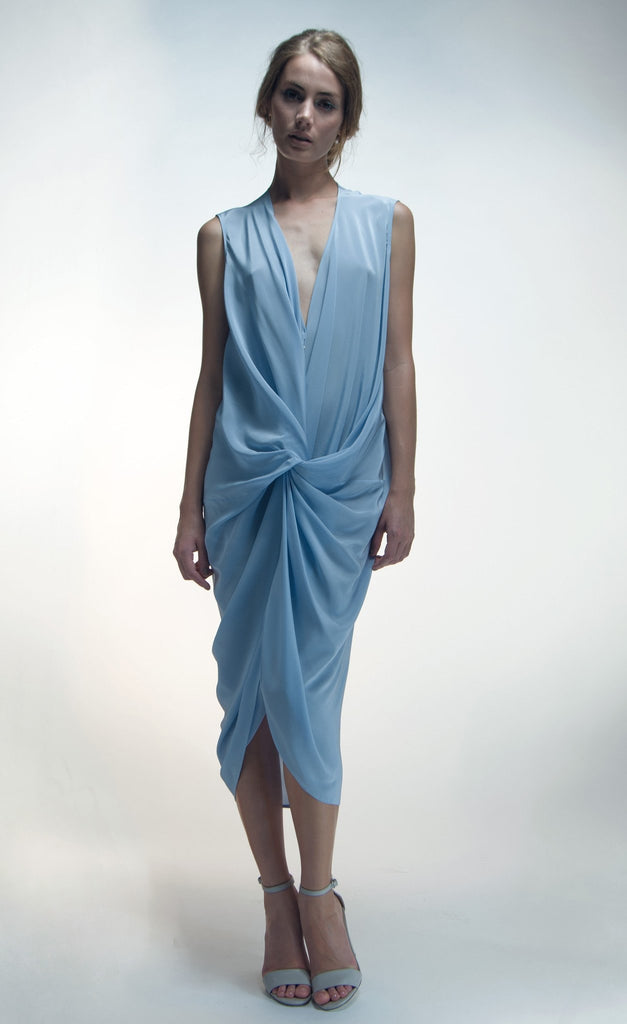 Elana Dress sky blue silk