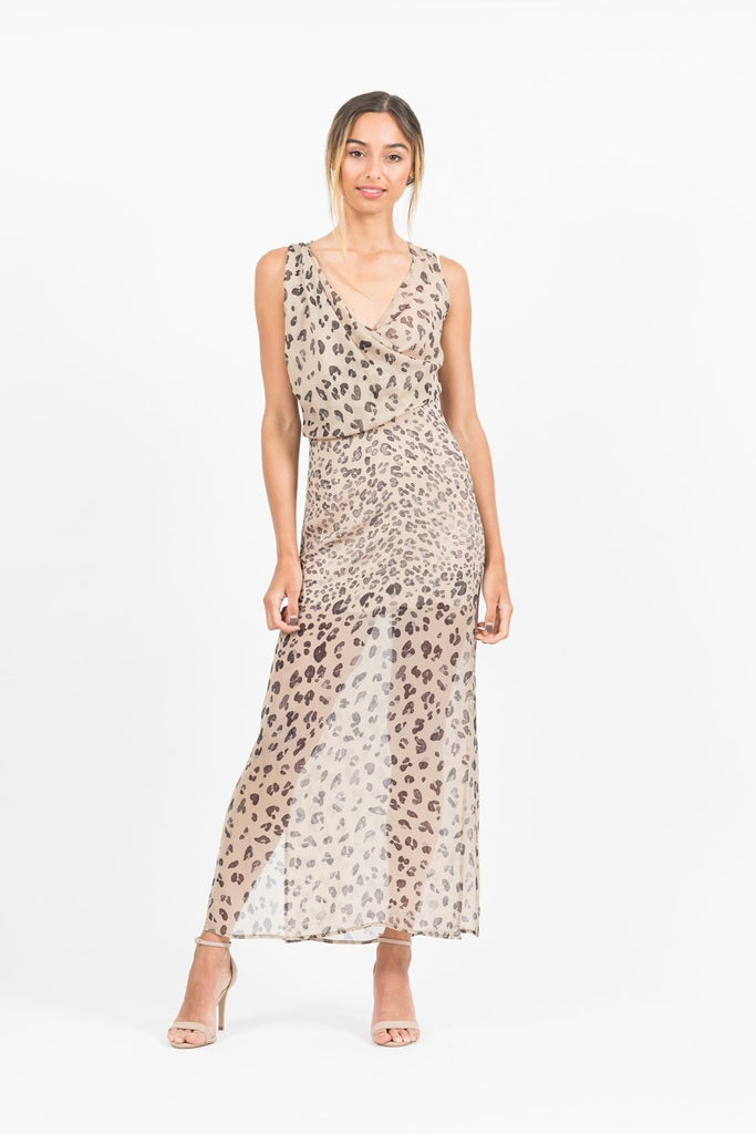 Nina Maxi Dress in Leopard Print