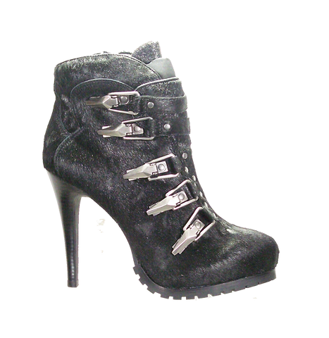 ASH Women's •Extreme• High Heeled Bootie - Black Pony Hair