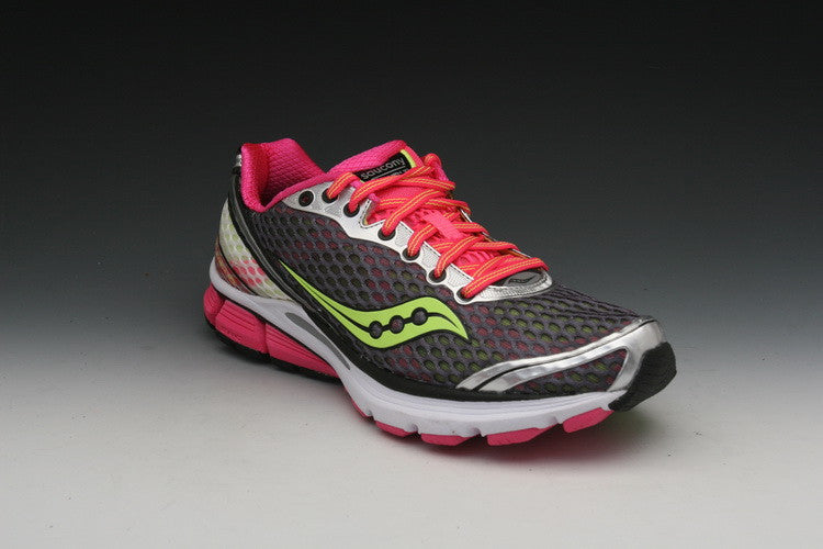 Women's Saucony PowerGrid Triumph 10 •Grey/Pink/Citron• Running Shoe - ShooDog.com