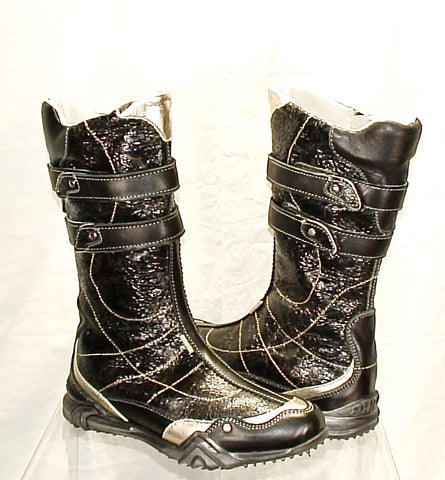 Childs Primigi Euro-Motto Tall Boot  - Black/Silver -