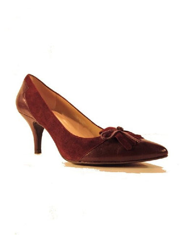 Ellen Tracy Womens -Hellie-  Leather/Suede Tassle Heels •Wine•