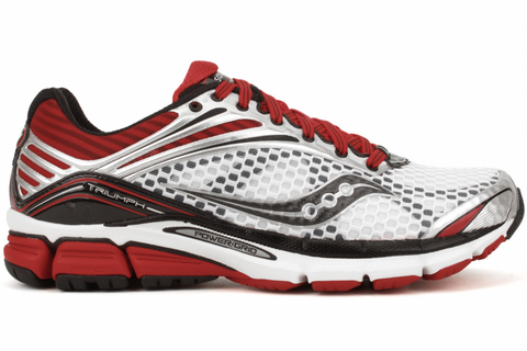 Men's Saucony PowerGrid Triumph 11 •White/Red/Black• Running Shoe - Wide Width - ShooDog.com