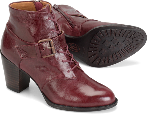 SOFFT Women's Wendy •Merlot Leather•  Lace-up Bootie - ShooDog.com