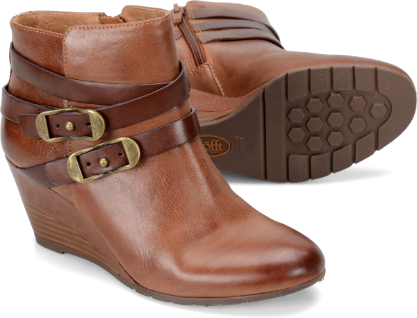 SOFFT Women's Oakes •Whiskey Brown Leather•  Strappy Ankle Boots - ShooDog.com