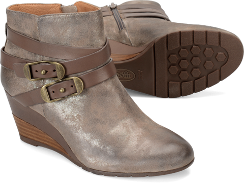 SOFFT Women's Oakes •Anthracite Suede•  Strappy Ankle Boots - ShooDog.com
