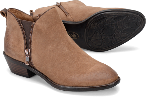 SOFFT Women's Vinton •Barley Suede Leather•  Zipper Bootie