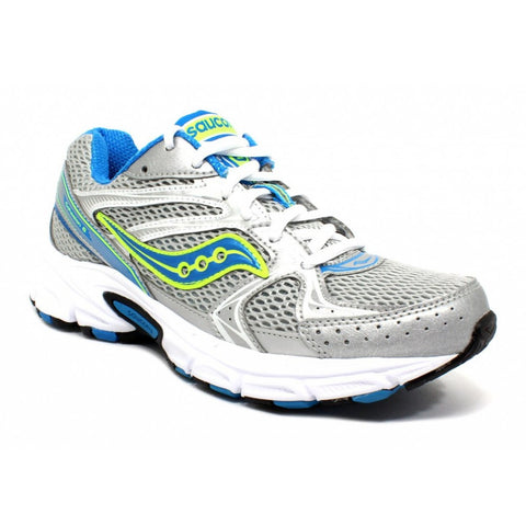 SAUCONY Women's Grid Cohesion 6 -Silver/Blue/Citron- Running Shoe •Wide Width• - ShooDog.com