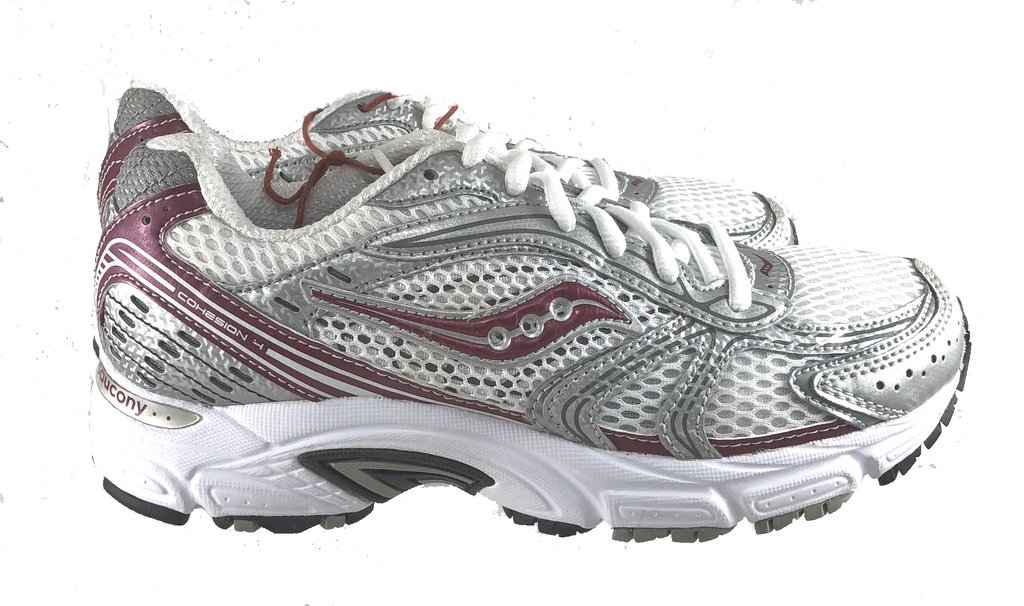 SAUCONY Women's Grid Cohesion 4 -White/Silver/Red- - ShooDog.com