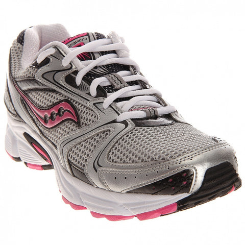 SAUCONY Women's Grid Cohesion 5 -Silver/Black/Pink- Running Shoe •Wide Width•