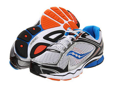 Men's Saucony Progrid Echelon 3•White/Blue/Orange• Running Shoe - ShooDog.com