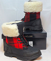 POLO Ralph Lauren Kids Quinta Shearling Boot   •BLK/RED-BLK PLAID• - ShooDog.com