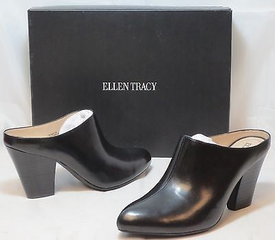 ELLEN TRACY Women's Rayya Slip Ons - Black Leather - NIB - MSRP$109