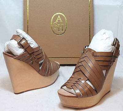 ASH ITALIA Women's Oman Leather Wedge Sandal - Clay - 36M - NIB - MSRP $335 - ShooDog.com