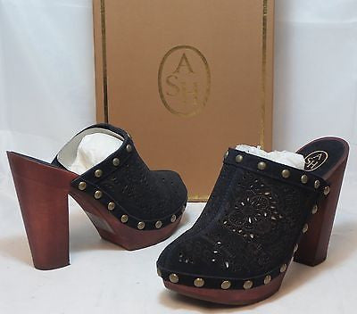ASH ITALIA Women's Spicy Clog - Midnight Cutout Suede - 39M - NIB - MSRP $225