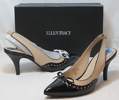 ELLEN TRACY Women's Bindy Slingbacks - Sand/Black - Sz 7-9 NIB - MSRP $109