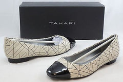 TAHARI Women's Imani Flats - Warm White/Black Patent - Multi SZ NIB - MSRP $89 - ShooDog.com