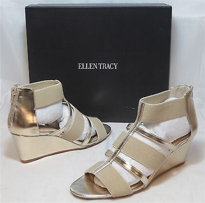 ELLEN TRACY Women's Darcie Wedge Sandal -Gold/Natural - Sz 7,7.5,9 NIB - MSRP$70