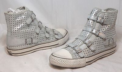 ASH ITALIA Women's Virgin Star Sneaker - Silver Leather - 39M - NIB - MSRP $235