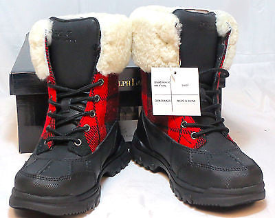 POLO Ralph Lauren Kids Quinta Shearling Boot   •BLK/RED-BLK PLAID•