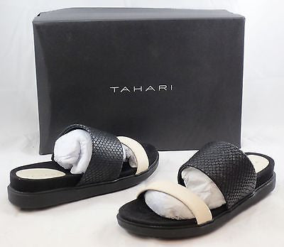 TAHARI Women's Marly Leather Sandal - Warm White/Black - Multi SZ NIB - MSRP $89 - ShooDog.com