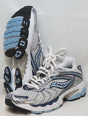 SAUCONY Women's ProGrid Ride 3 - White/Silver/Blue - Running Shoe •Wide Width• - ShooDog.com