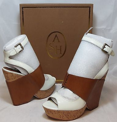 ASH ITALIA Women's Roma Wedge - White/Natural - EU 39.5M - NIB - MSRP $275
