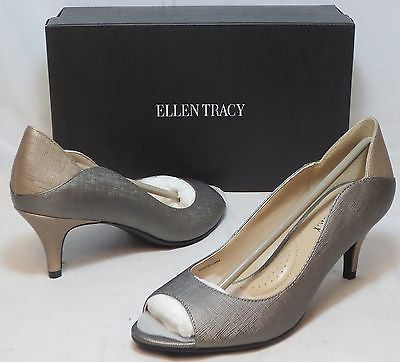 ELLEN TRACY Women's Sidney Leather Pump - Pewter - - ShooDog.com