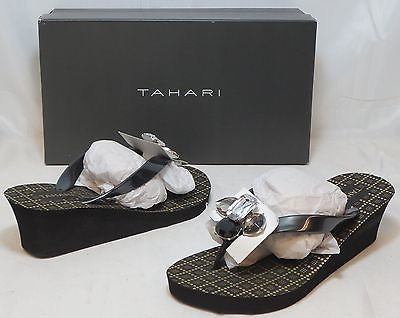 TAHARI Women's Ava Wedge Sandal - Black - Multi SZ - NIB - MSRP $39 - ShooDog.com