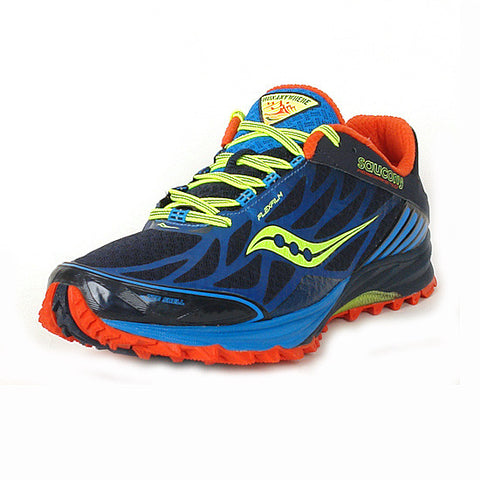 Men's Saucony PEREGRINE 4 •Blue/Red/Citron • Running Shoe - ShooDog.com