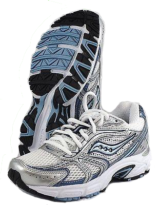 SAUCONY Women's Grid Cohesion 4 - White/Silver/Blue- Running Shoe - ShooDog.com