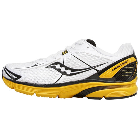 Men's Saucony ProGrid Mirage •White/Black/Yellow• Running Shoe - ShooDog.com