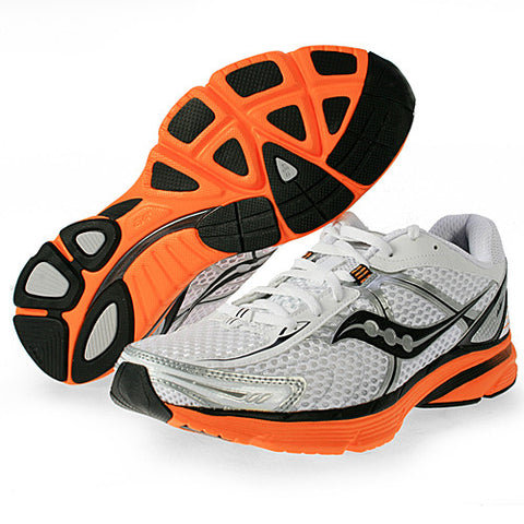 Men's Saucony ProGrid Mirage •White/Black/Orange• Running Shoe - ShooDog.com