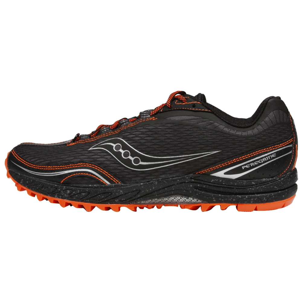 Mens Saucony ProGrid Peregrine Trail Running •Black/Orange• - ShooDog.com