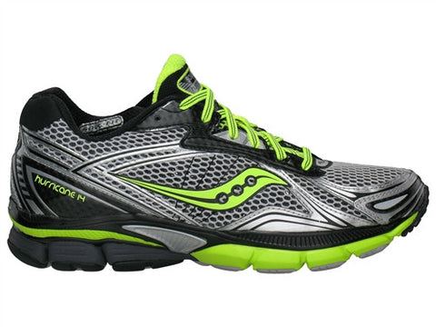 Mens Saucony Men PowerGrid Hurricane 14 •Black/Citron/Silver• Running Shoe
