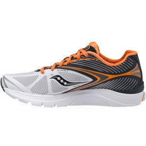 Mens Saucony  ProGrid Kinvara 4 •White/Navy/Orange• Running Shoe - ShooDog.com