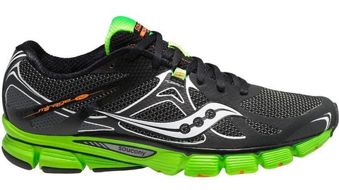 Men's Saucony Mirage 4 •Black/Green• Running Shoe - ShooDog.com