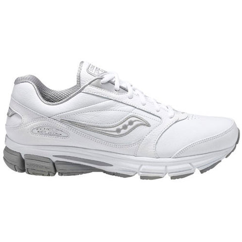 Men's Saucony Echelon LE 2 •White/Silver• Walking Shoe - ShooDog.com